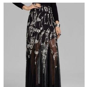 Free People Floral Embroidered Mesh Maxi Skirt